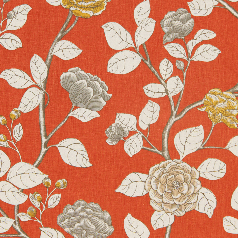DWELLSTUDIO DECORATIVE MODERN Leda Peony Fabric - Persimmon