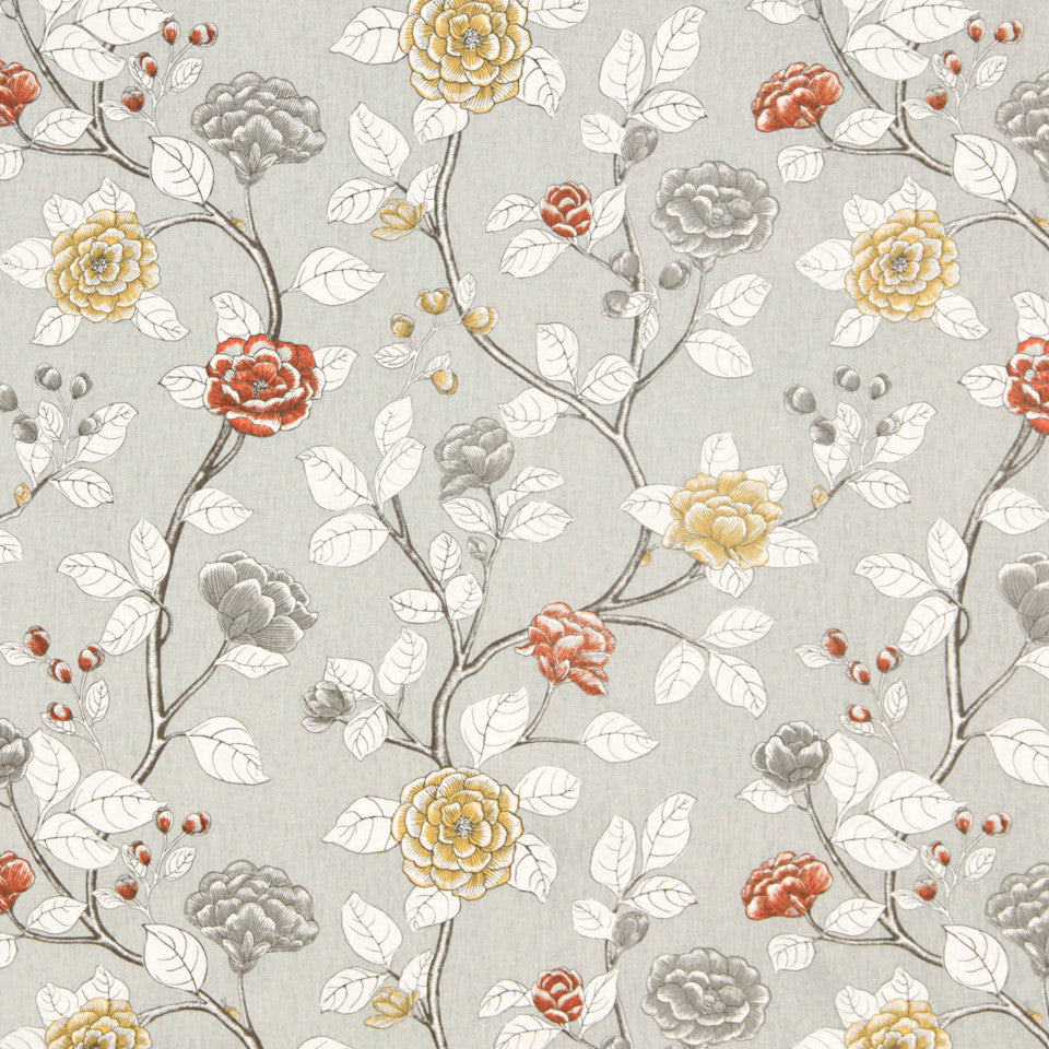 DWELLSTUDIO DECORATIVE MODERN Leda Peony Fabric - Dove