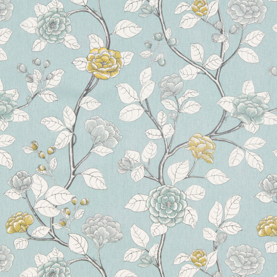 DWELLSTUDIO DECORATIVE MODERN Leda Peony Fabric - Aquatint