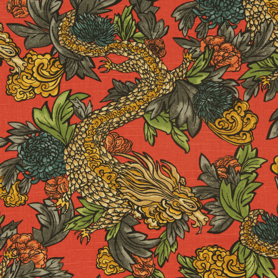 DWELLSTUDIO DECORATIVE MODERN Ming Dragon Fabric - Persimmon