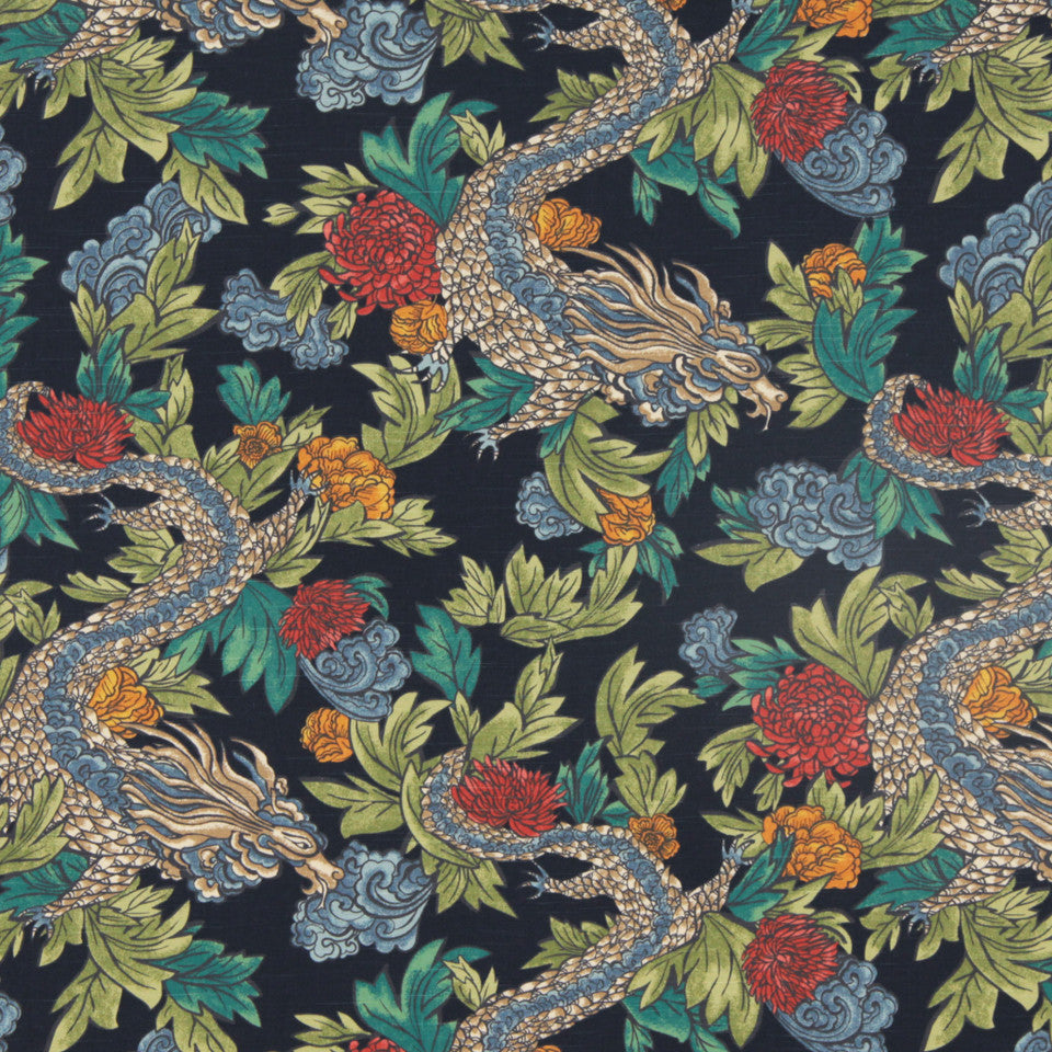 DWELLSTUDIO DECORATIVE MODERN Ming Dragon Fabric - Admiral