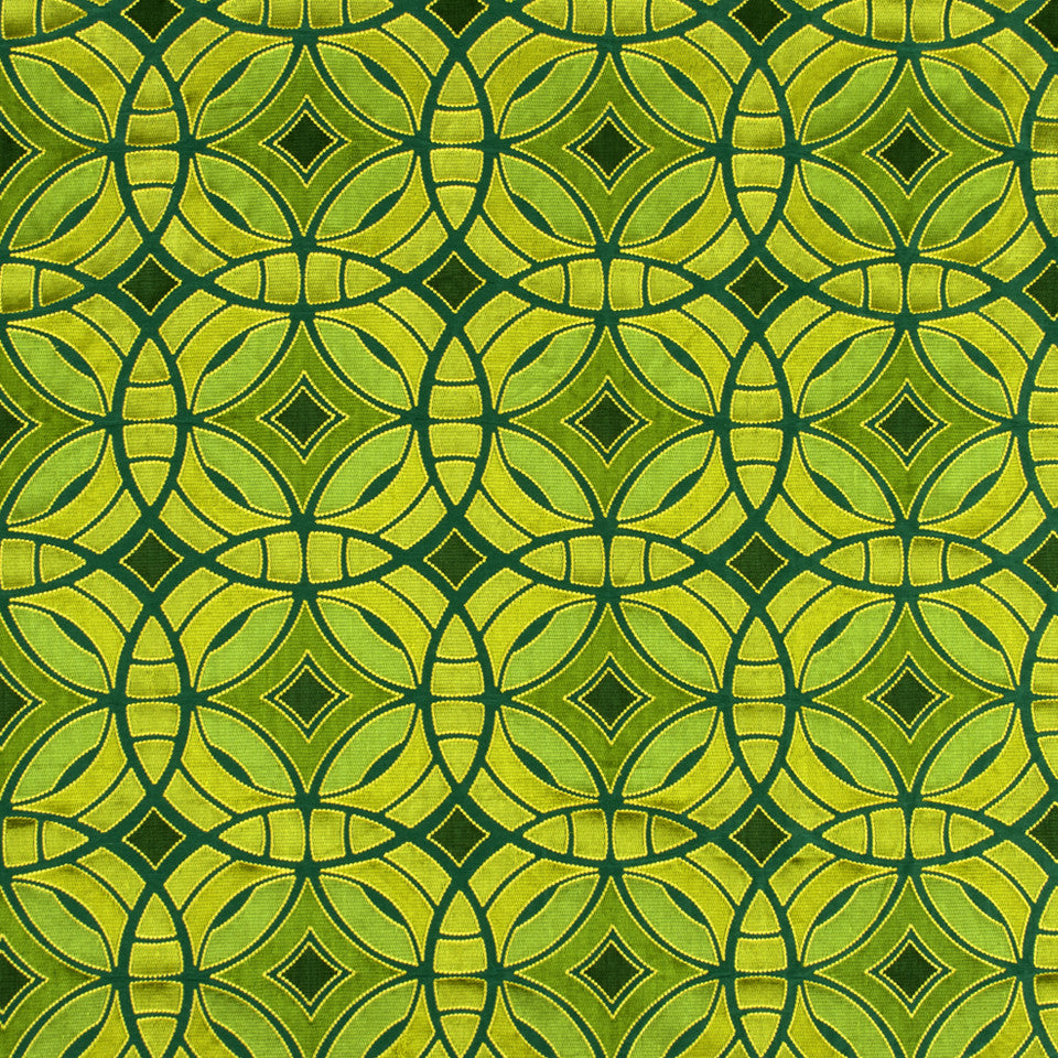 SILK JACQUARDS & EMBROIDERIES II Perspective Fabric - Emerald