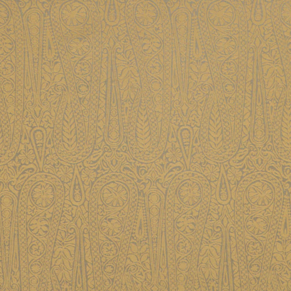 PERFORMANCE UPHOLSTERY/NANO-TEX  DURABLOCK/FAUX LEATHER Satin Paisley Fabric - Gold