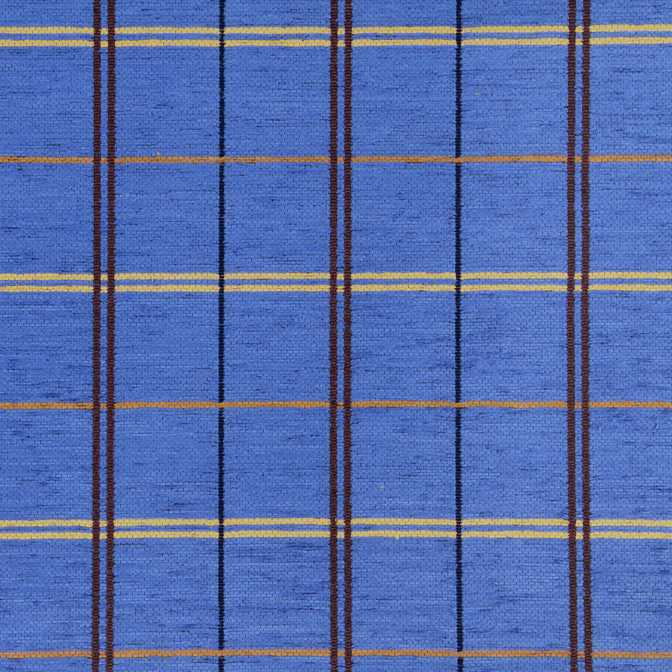 PERFORMANCE UPHOLSTERY/NANO-TEX  DURABLOCK/FAUX LEATHER Warm Plaid Fabric - Mediterranean