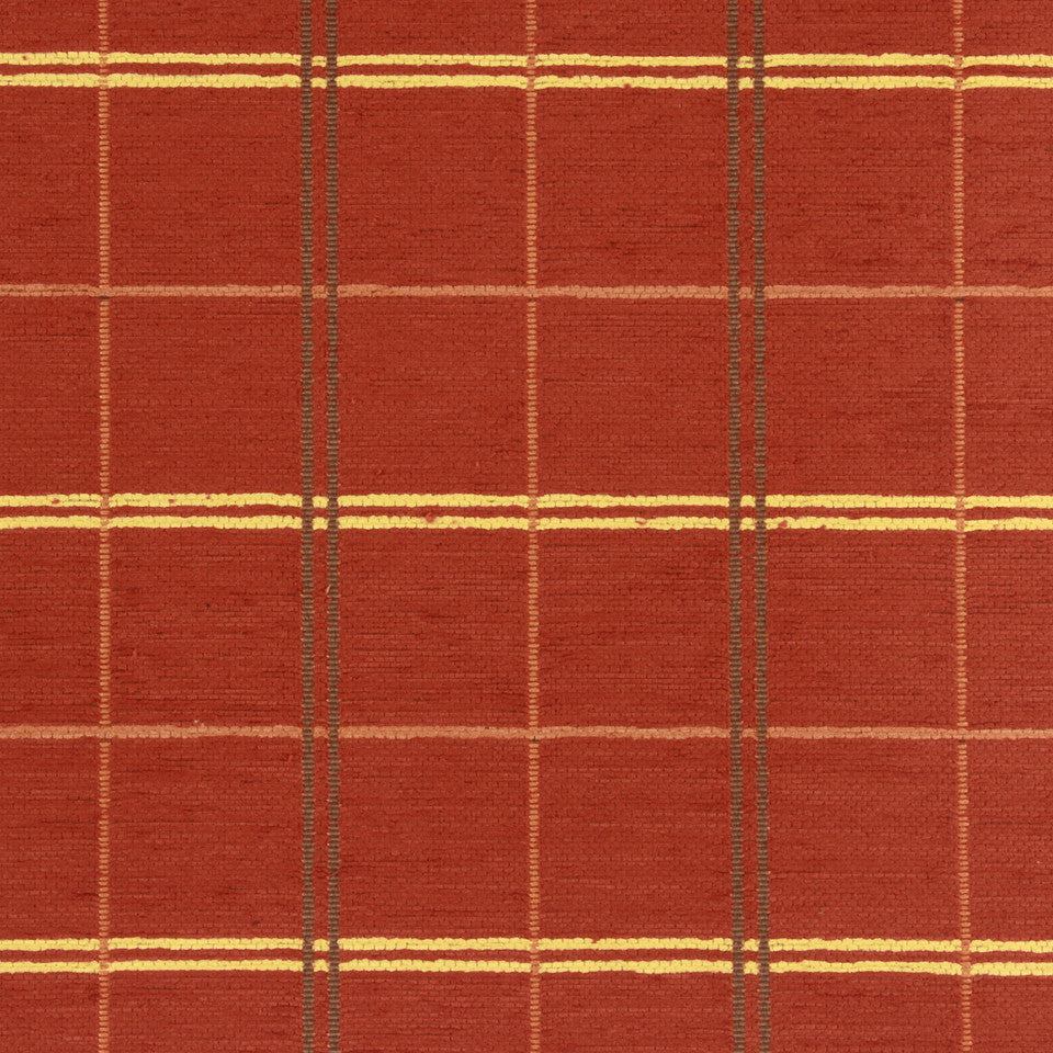 PERFORMANCE UPHOLSTERY/NANO-TEX  DURABLOCK/FAUX LEATHER Warm Plaid Fabric - Tuscan