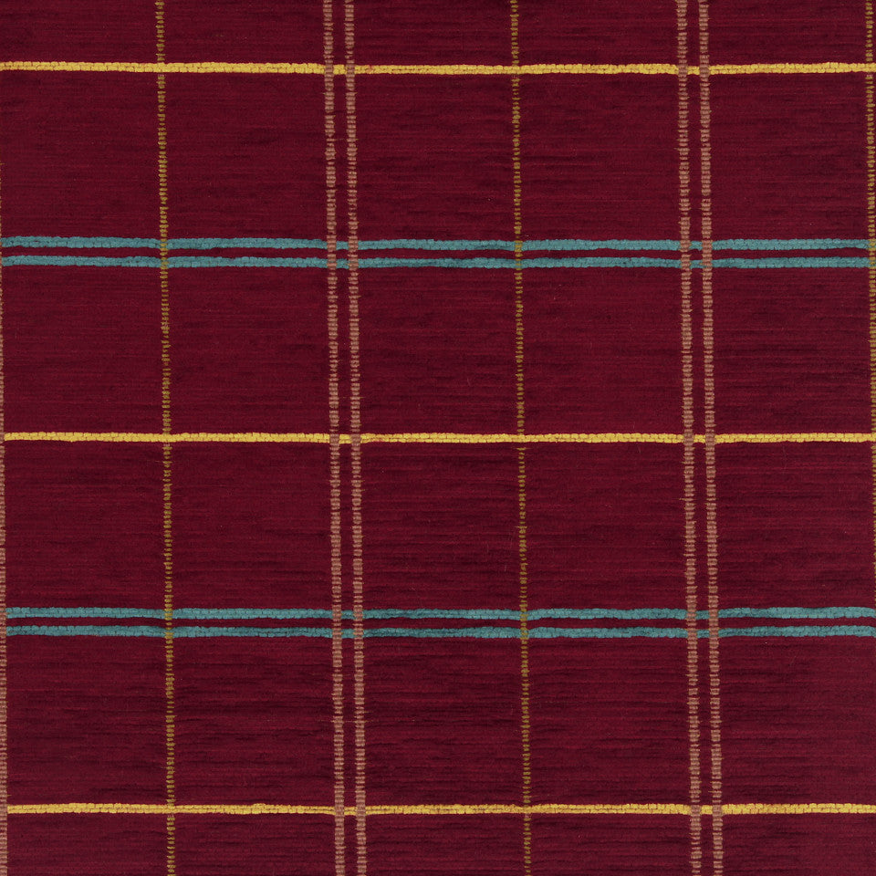 PERFORMANCE UPHOLSTERY/NANO-TEX  DURABLOCK/FAUX LEATHER Warm Plaid Fabric - Bouquet