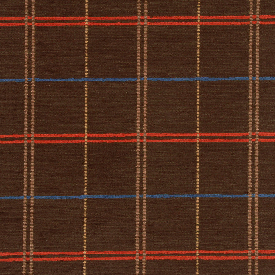 PERFORMANCE UPHOLSTERY/NANO-TEX  DURABLOCK/FAUX LEATHER Warm Plaid Fabric - Walnut