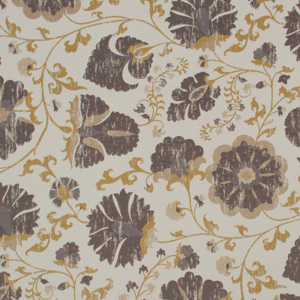 GOLD LEAF Faded Floral Fabric - Chalkboard