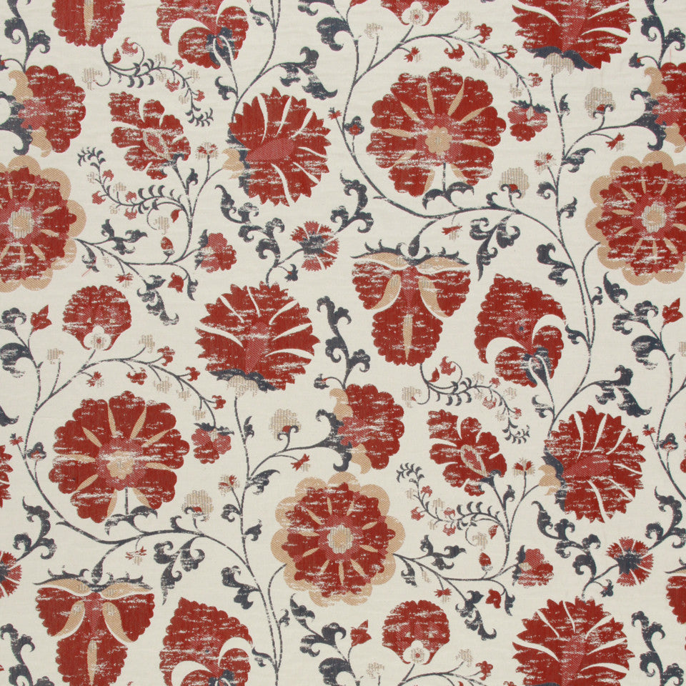 LACQUER RED Faded Floral Fabric - Lacquer Red