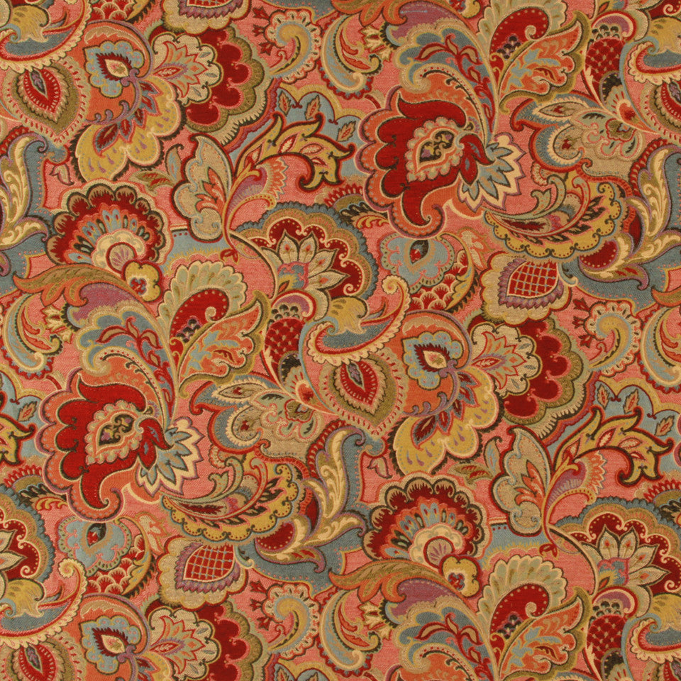 LACQUER RED Vintage Look Fabric - Lacquer Red