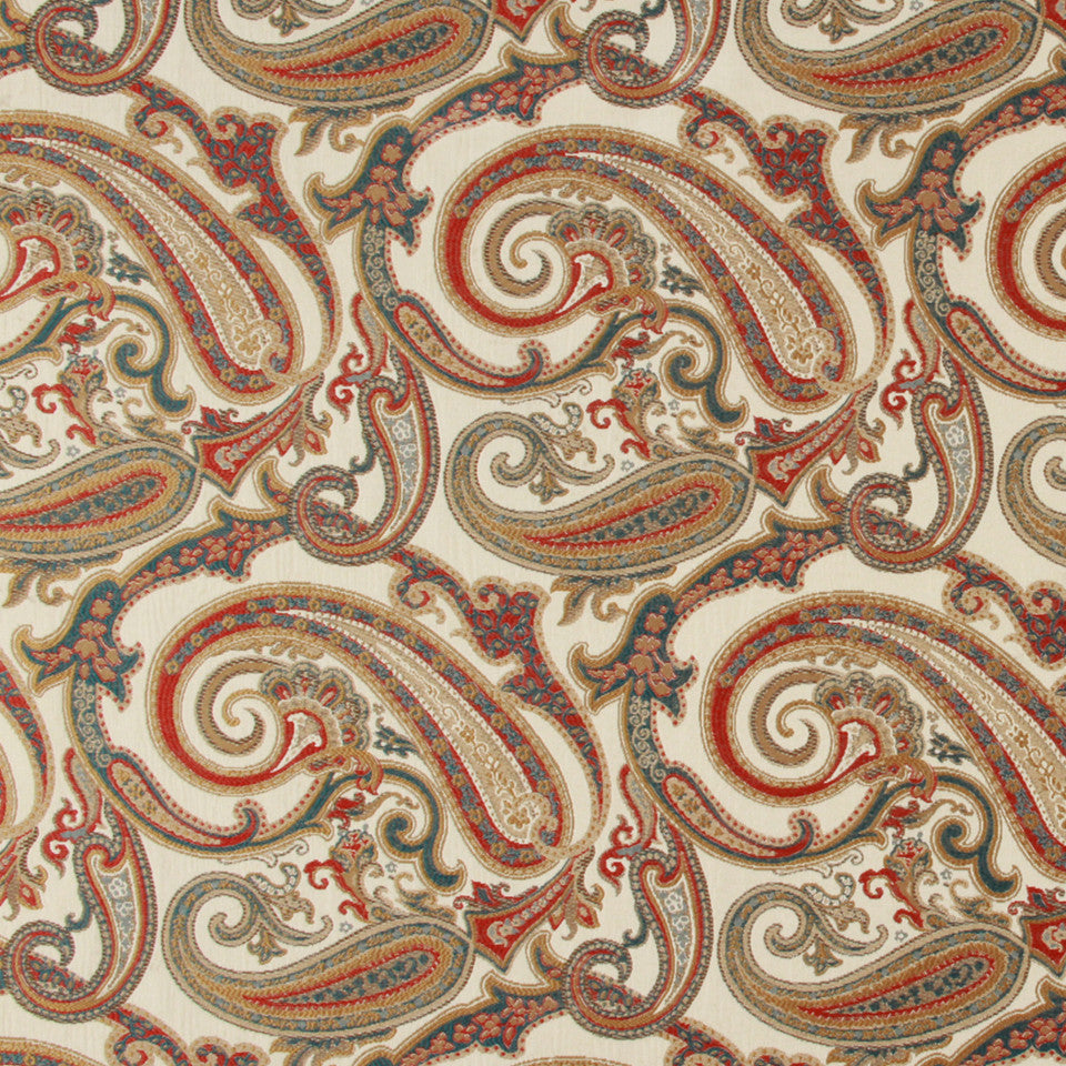 LACQUER RED Paisley Cove Fabric - Lacquer Red