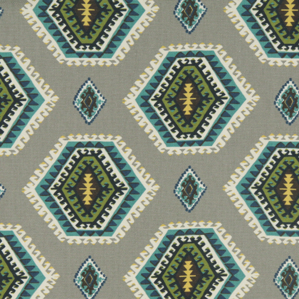 Pop Medallion Fabric - Greystone