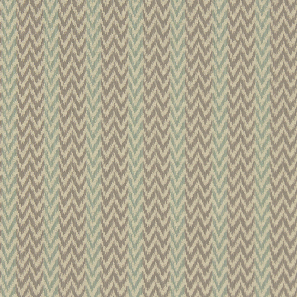 PERFORMANCE UPHOLSTERY/NANO-TEX  DURABLOCK/FAUX LEATHER Chevron Ikat Fabric - Spa
