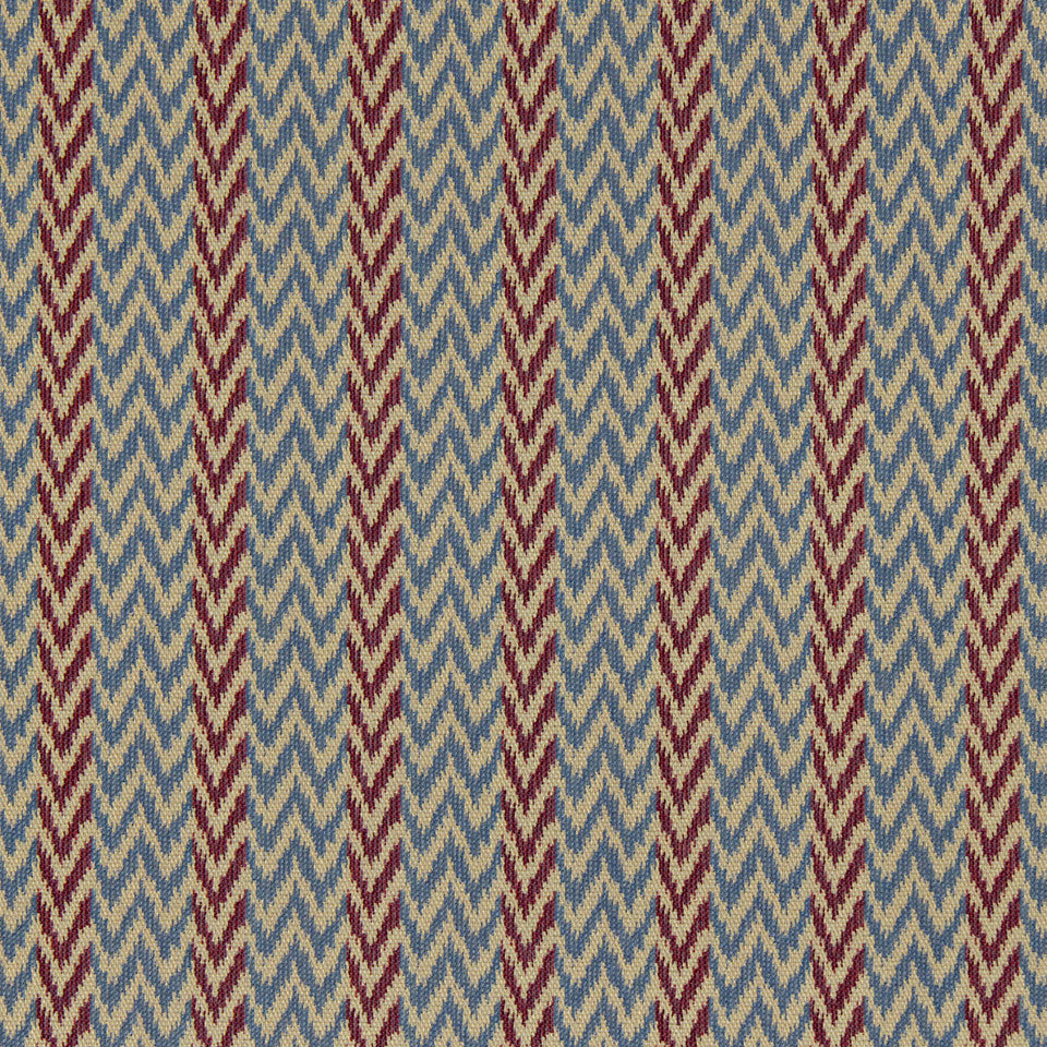 PERFORMANCE UPHOLSTERY/NANO-TEX  DURABLOCK/FAUX LEATHER Chevron Ikat Fabric - Bouquet
