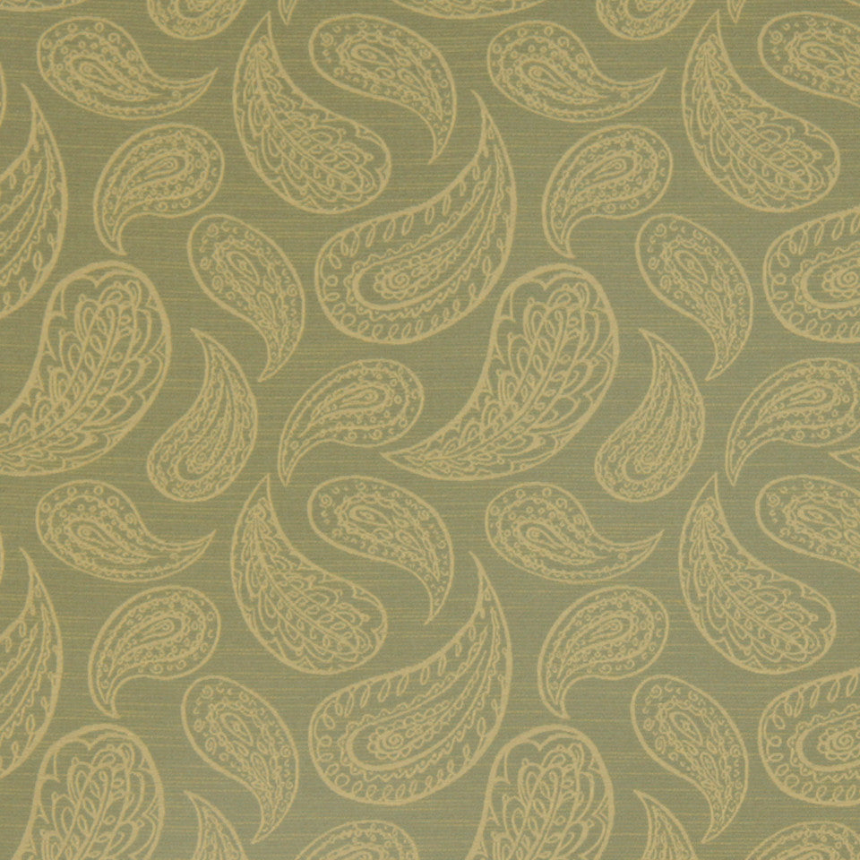 PERFORMANCE UPHOLSTERY/NANO-TEX  DURABLOCK/FAUX LEATHER Paisley Toss Fabric - Leaf