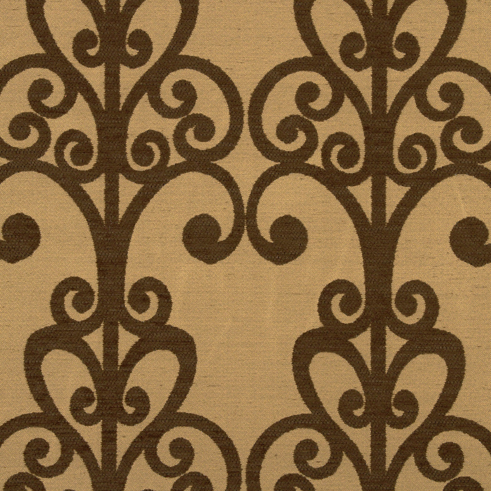 PERFORMANCE UPHOLSTERY/NANO-TEX  DURABLOCK/FAUX LEATHER Loring Park Fabric - Walnut