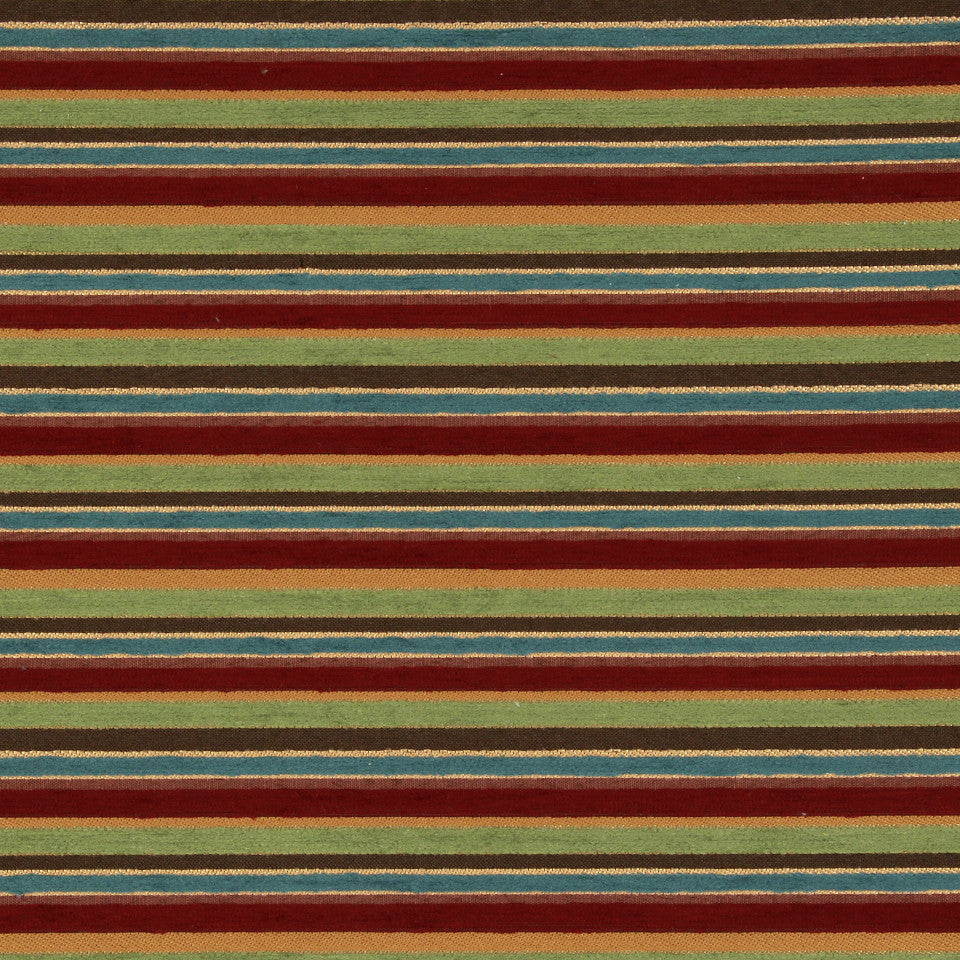 PERFORMANCE UPHOLSTERY/NANO-TEX  DURABLOCK/FAUX LEATHER Lavish Stripes Fabric - Bouquet