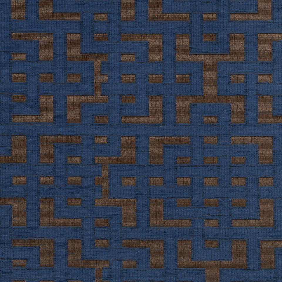 PERFORMANCE UPHOLSTERY/NANO-TEX  DURABLOCK/FAUX LEATHER Fretwork Grid Fabric - Classic