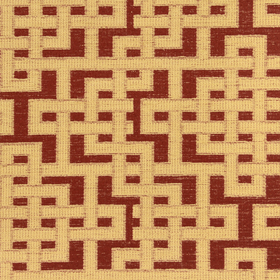 PERFORMANCE UPHOLSTERY/NANO-TEX  DURABLOCK/FAUX LEATHER Fretwork Grid Fabric - Tuscan