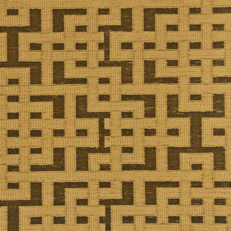 PERFORMANCE UPHOLSTERY/NANO-TEX  DURABLOCK/FAUX LEATHER Fretwork Grid Fabric - Gold