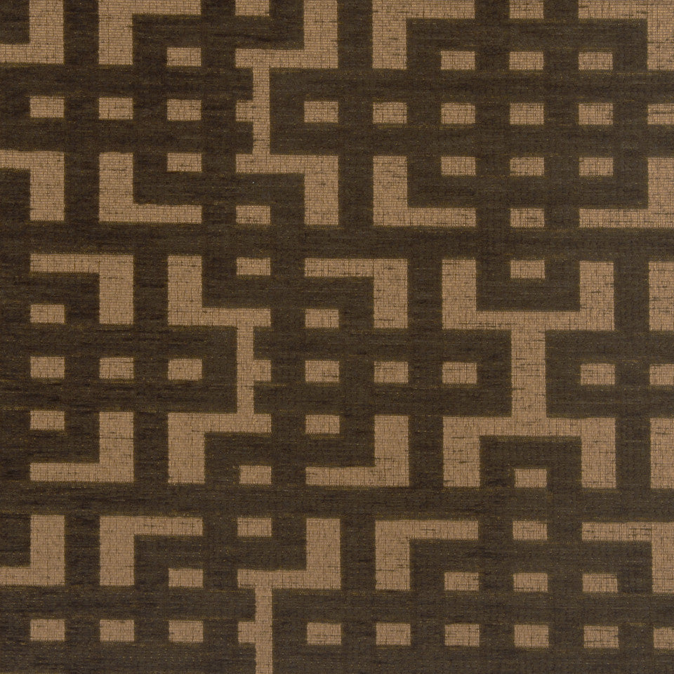 PERFORMANCE UPHOLSTERY/NANO-TEX  DURABLOCK/FAUX LEATHER Fretwork Grid Fabric - Walnut