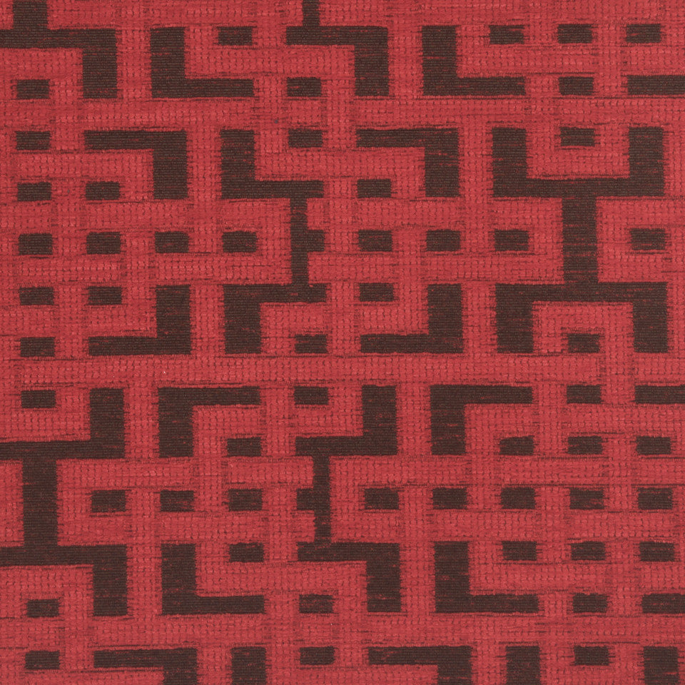 PERFORMANCE UPHOLSTERY/NANO-TEX  DURABLOCK/FAUX LEATHER Fretwork Grid Fabric - Spice