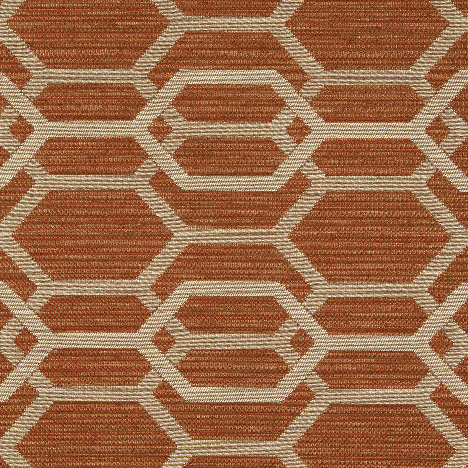 PERFORMANCE UPHOLSTERY/NANO-TEX  DURABLOCK/FAUX LEATHER Hexagon Links Fabric - Tuscan
