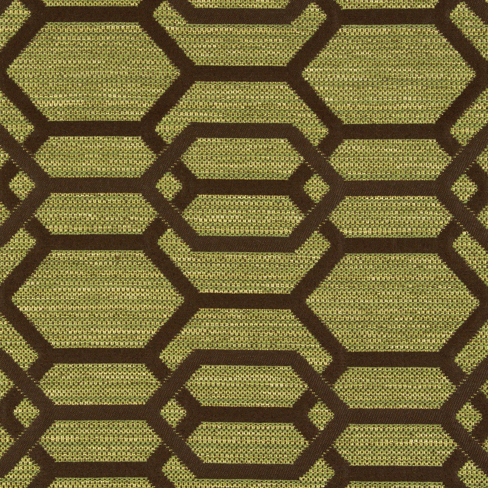 PERFORMANCE UPHOLSTERY/NANO-TEX  DURABLOCK/FAUX LEATHER Hexagon Links Fabric - Leaf