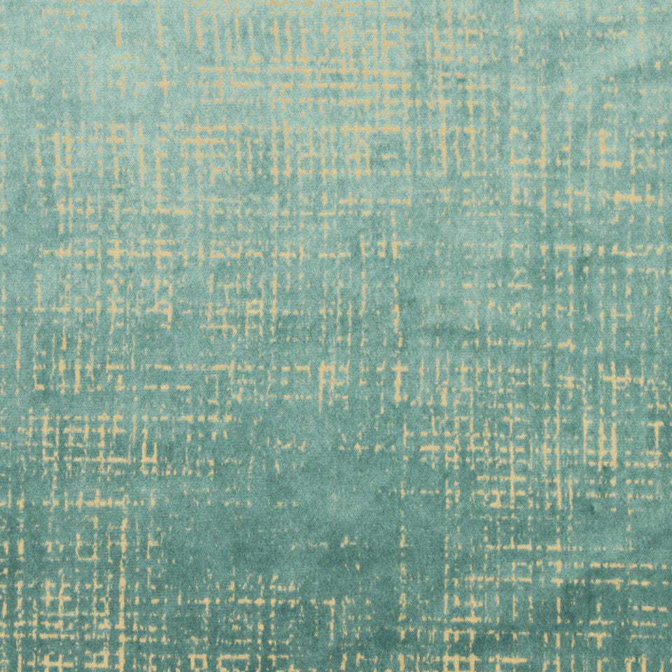 DWELLSTUDIO DECORATIVE MODERN Etched Velvet Fabric - Mineral Green