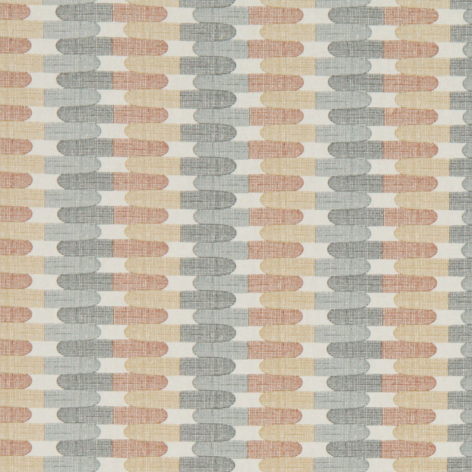 Textured Tiles Fabric - Greystone