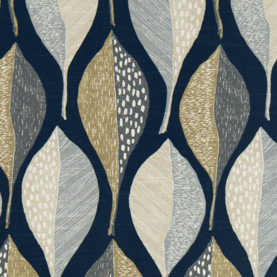 Woodblock Leaf Fabric - Indigo