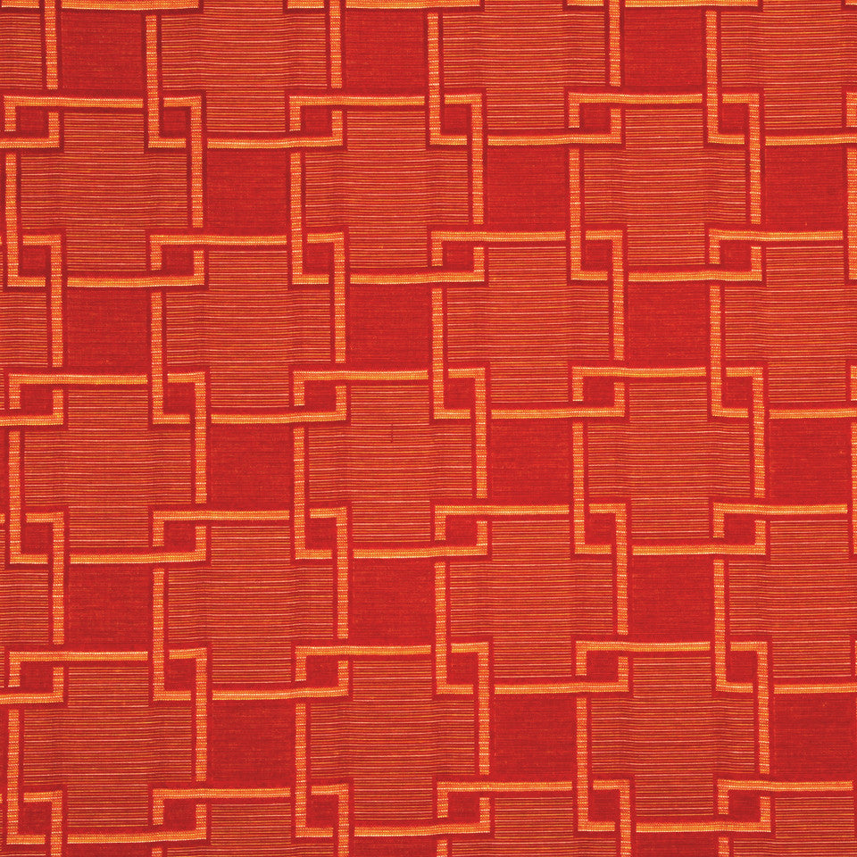 NANO-TEX + DURABLOCK Fretwork Strie Fabric - Cayenne