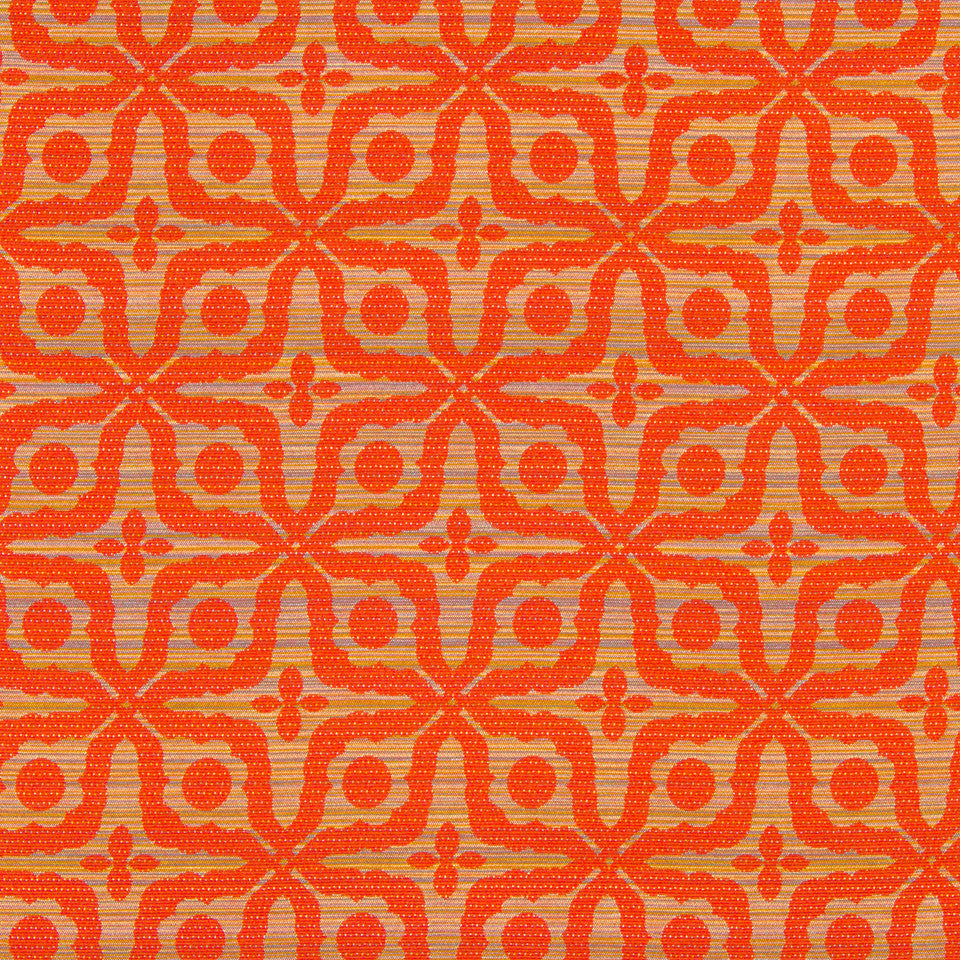 NANO-TEX + DURABLOCK Strie Fleur Fabric - Carrot