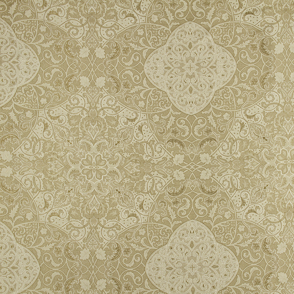 SILK JACQUARDS & EMBROIDERIES I Vintage Vines Fabric - Honey