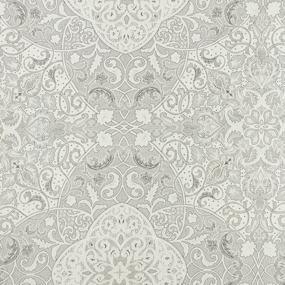 SILK JACQUARDS & EMBROIDERIES I Vintage Vines Fabric - Silver