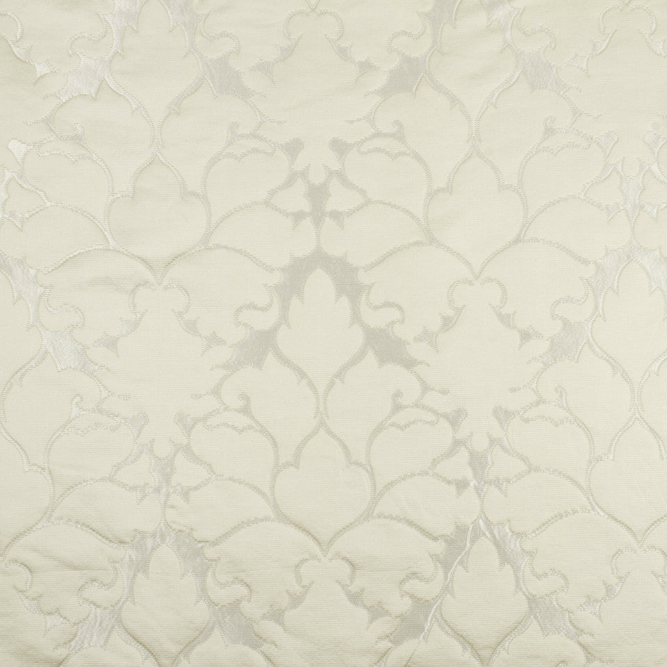 SILK JACQUARDS & EMBROIDERIES I Blossom Frame Fabric - Ivory