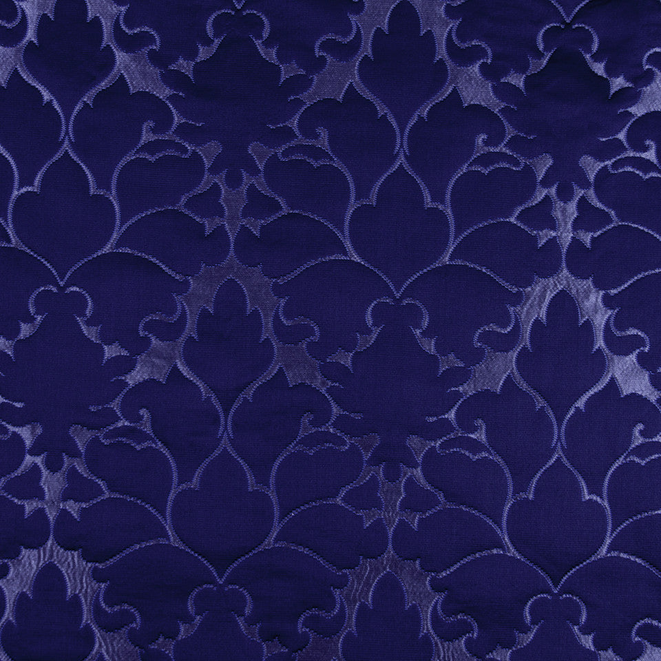 SILK JACQUARDS & EMBROIDERIES I Blossom Frame Fabric - Navy