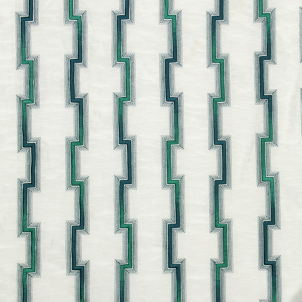 SILK JACQUARDS & EMBROIDERIES II Hashi Fret Fabric - Neptune