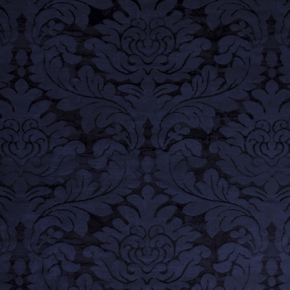 SILK JACQUARDS & EMBROIDERIES I Hikaru Frame Fabric - Navy