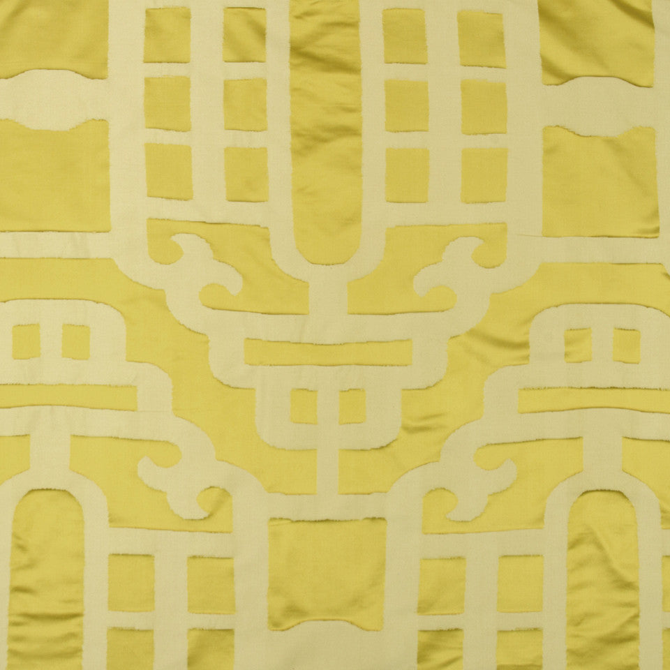 SILK JACQUARDS & EMBROIDERIES II Silk Lantern Fabric - Yellow