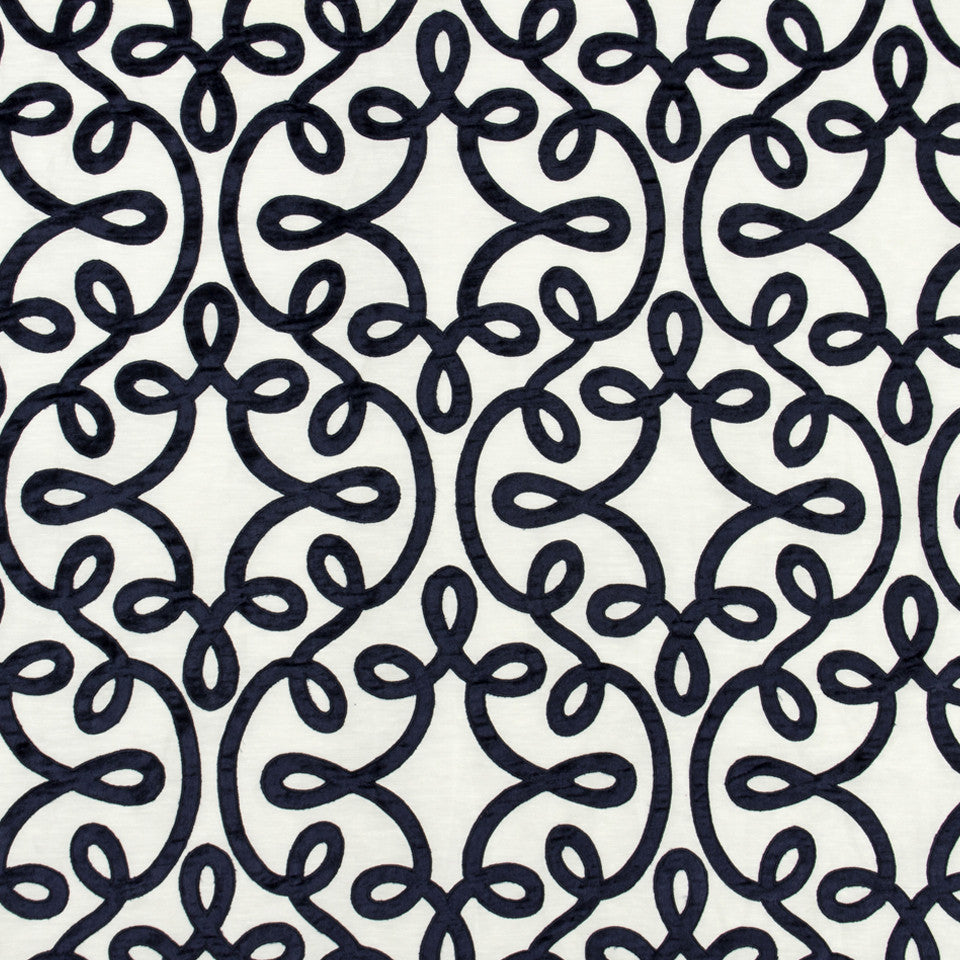 SILK JACQUARDS & EMBROIDERIES I Michi Scroll Fabric - Navy