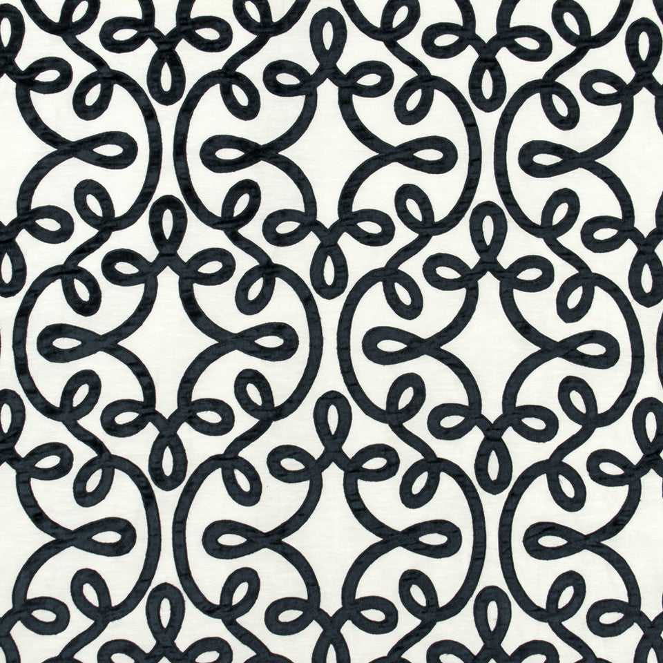 SILK JACQUARDS & EMBROIDERIES II Michi Scroll Fabric - Neptune