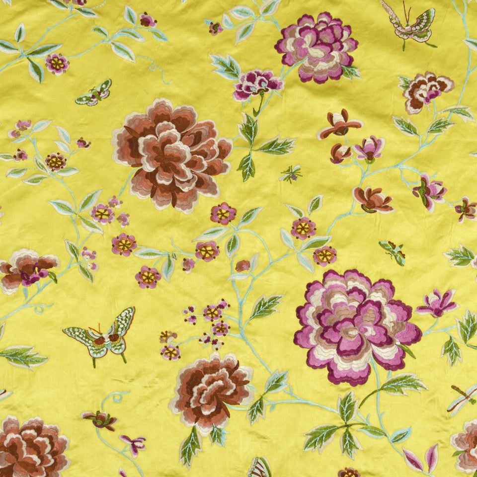FLOATING WORLD Peony King Fabric - Yellow