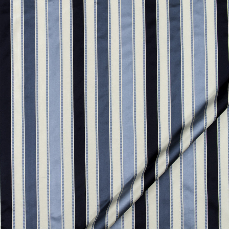 SILK JACQUARDS & EMBROIDERIES I Bourbon Stripe Fabric - Navy