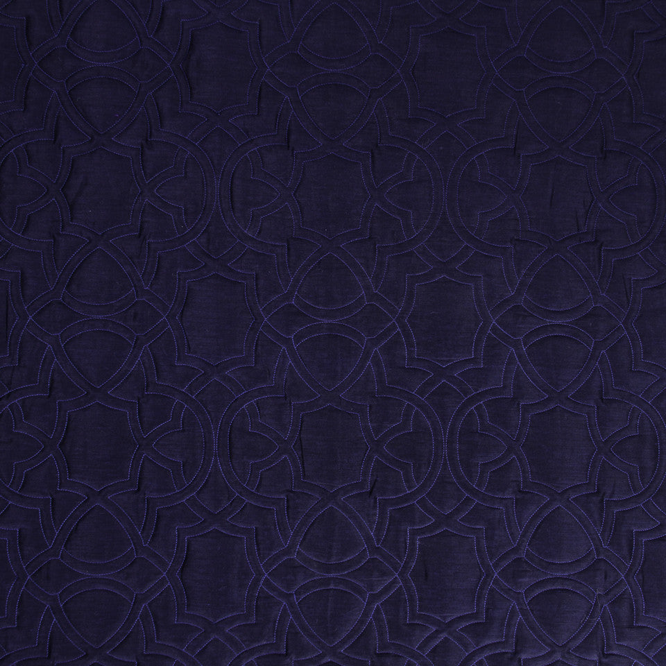 SILK JACQUARDS & EMBROIDERIES I Garlyn Fabric - Navy