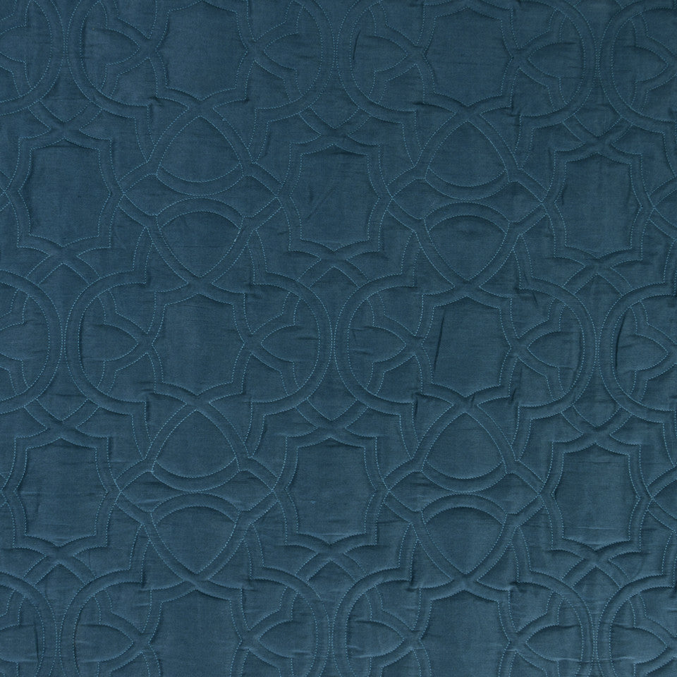 SILK JACQUARDS & EMBROIDERIES II Garlyn Fabric - Neptune