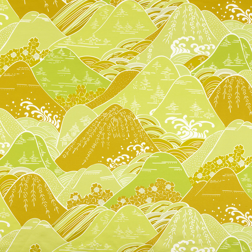 SILK JACQUARDS & EMBROIDERIES II Fuji Fabric - Mango