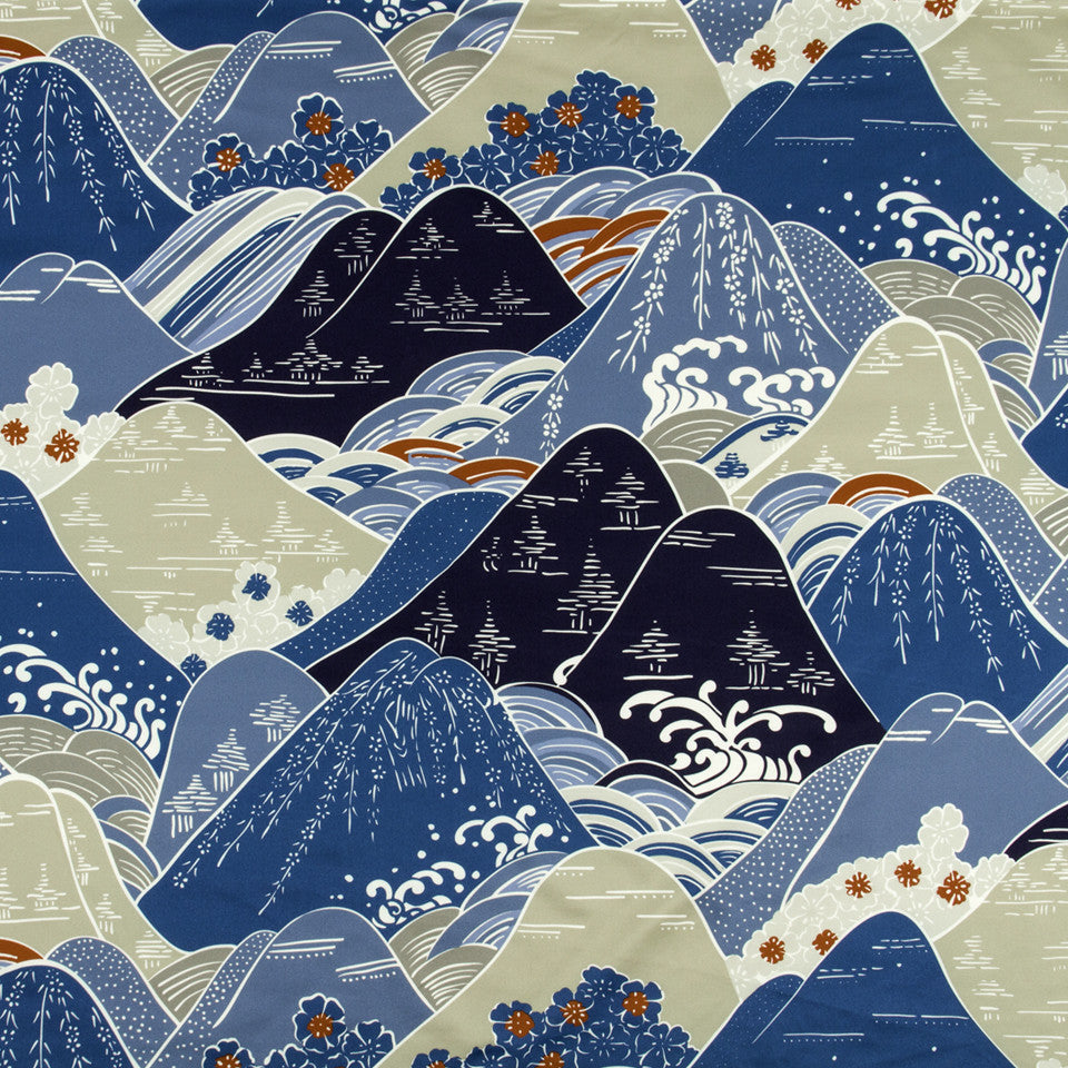SILK JACQUARDS & EMBROIDERIES I Fuji Fabric - Navy
