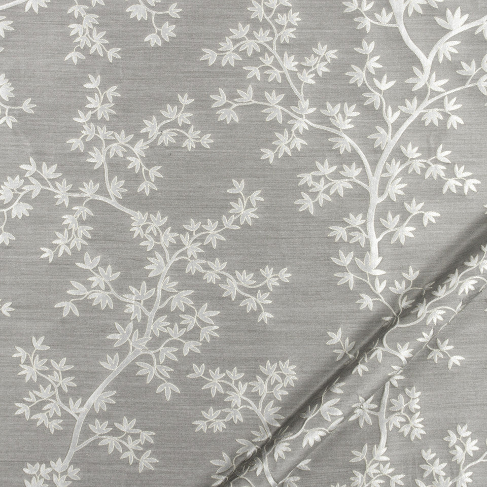 SILK JACQUARDS & EMBROIDERIES I Kyoto Maple Fabric - Silver
