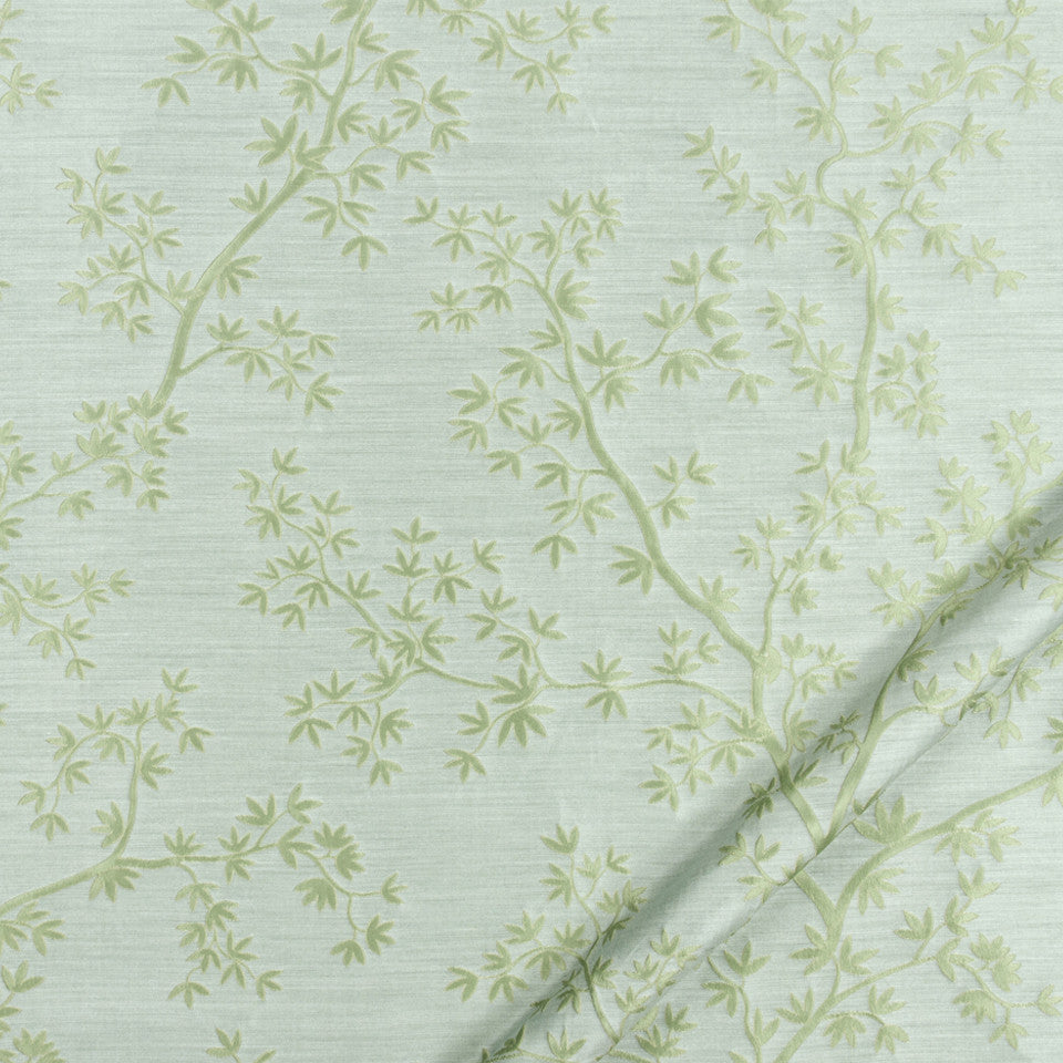 SILK JACQUARDS & EMBROIDERIES II Kyoto Maple Fabric - Sky